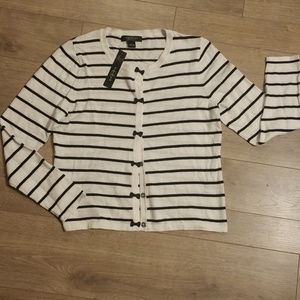 August Silk Striped And Bow Cardigan NWT